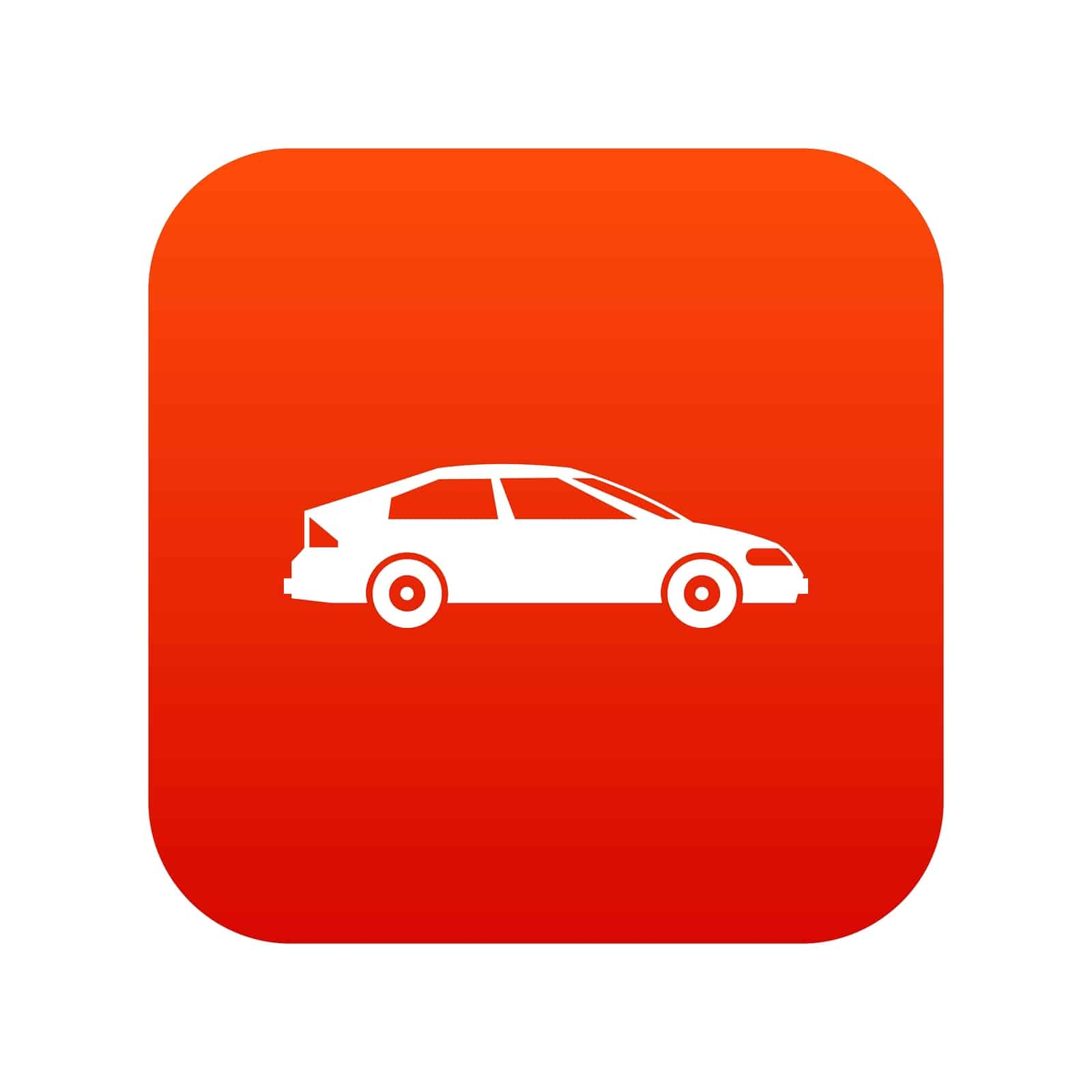 Car icon digital red for any design isolated on white vector illustration
