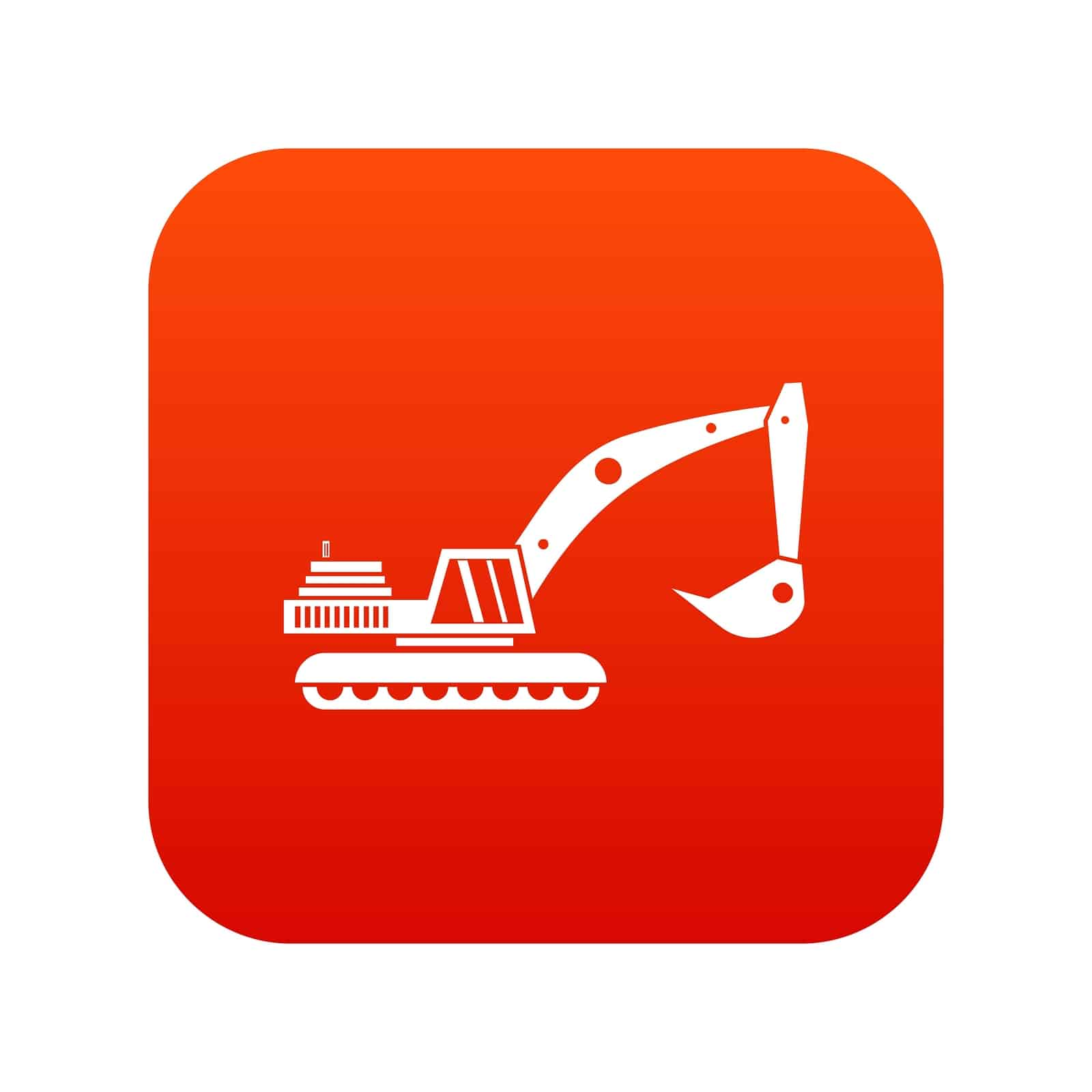 Excavator icon digital red for any design isolated on white vector illustration